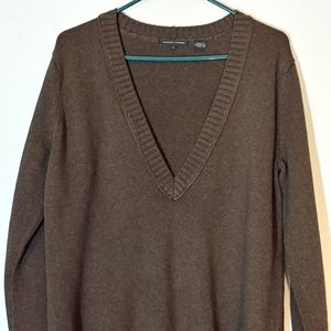 Jeanne Pierre Chocolate Brown V-neck Sweater L